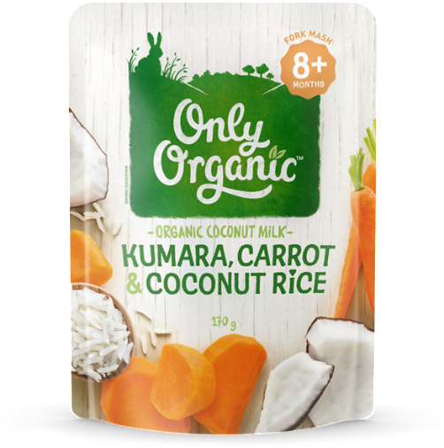 Only Organic Kindy Kumara, Carrot & Coconut Rice - Only Organic Creamy Rice Pudding Pouch 120g (600x600), Png Download