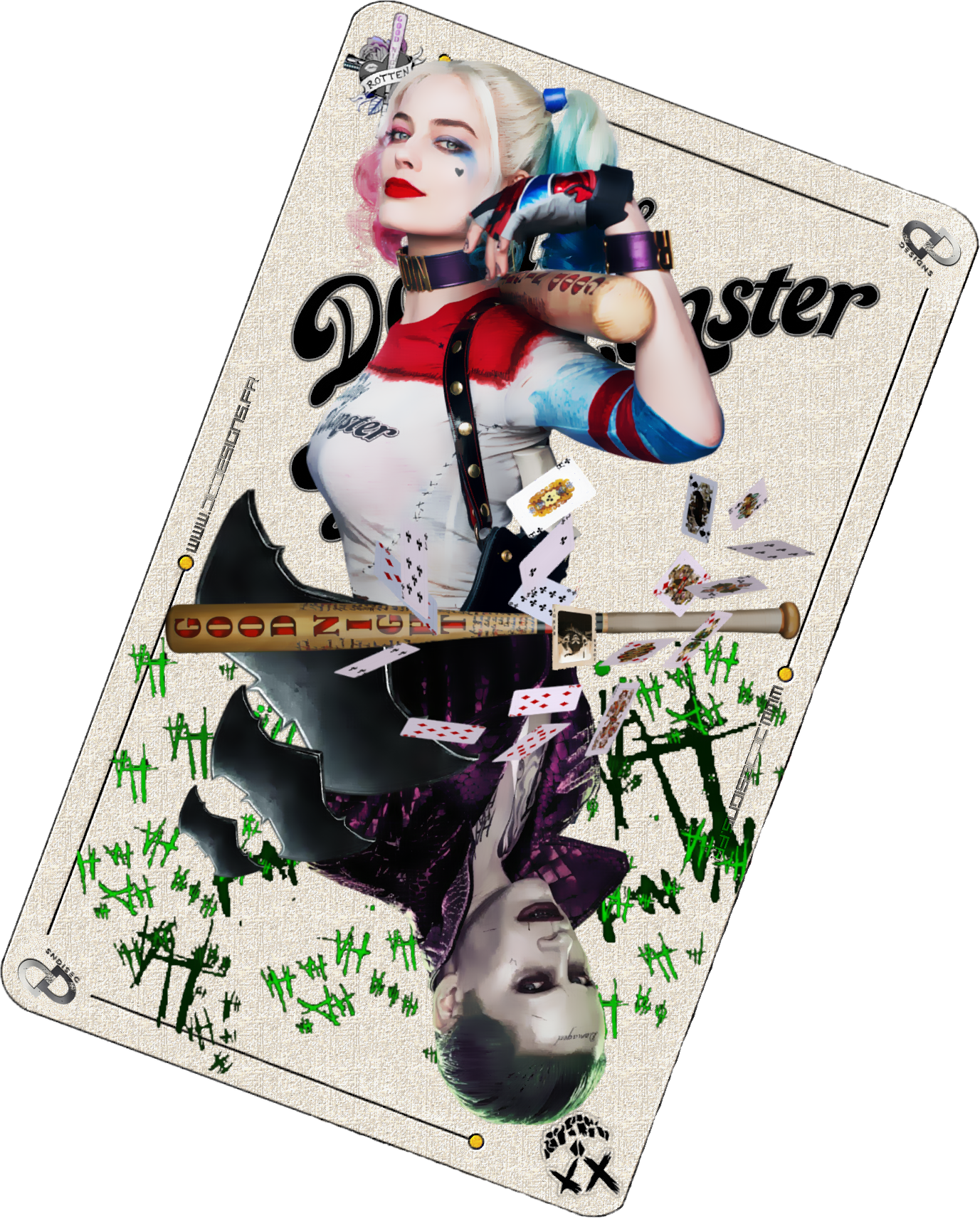 Download Freeuse Download Drawing Digitally Harley Quinn Joker Card Suicide Squad Png Image With No Background Pngkey Com