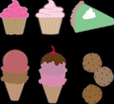 Cupcake Pie Ice Cream Cookies Dessert Food - Ice Cream And Cookies Clipart (374x340), Png Download