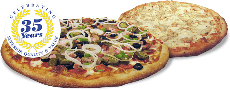 Fresh Baked Pizzas - California-style Pizza (821x326), Png Download