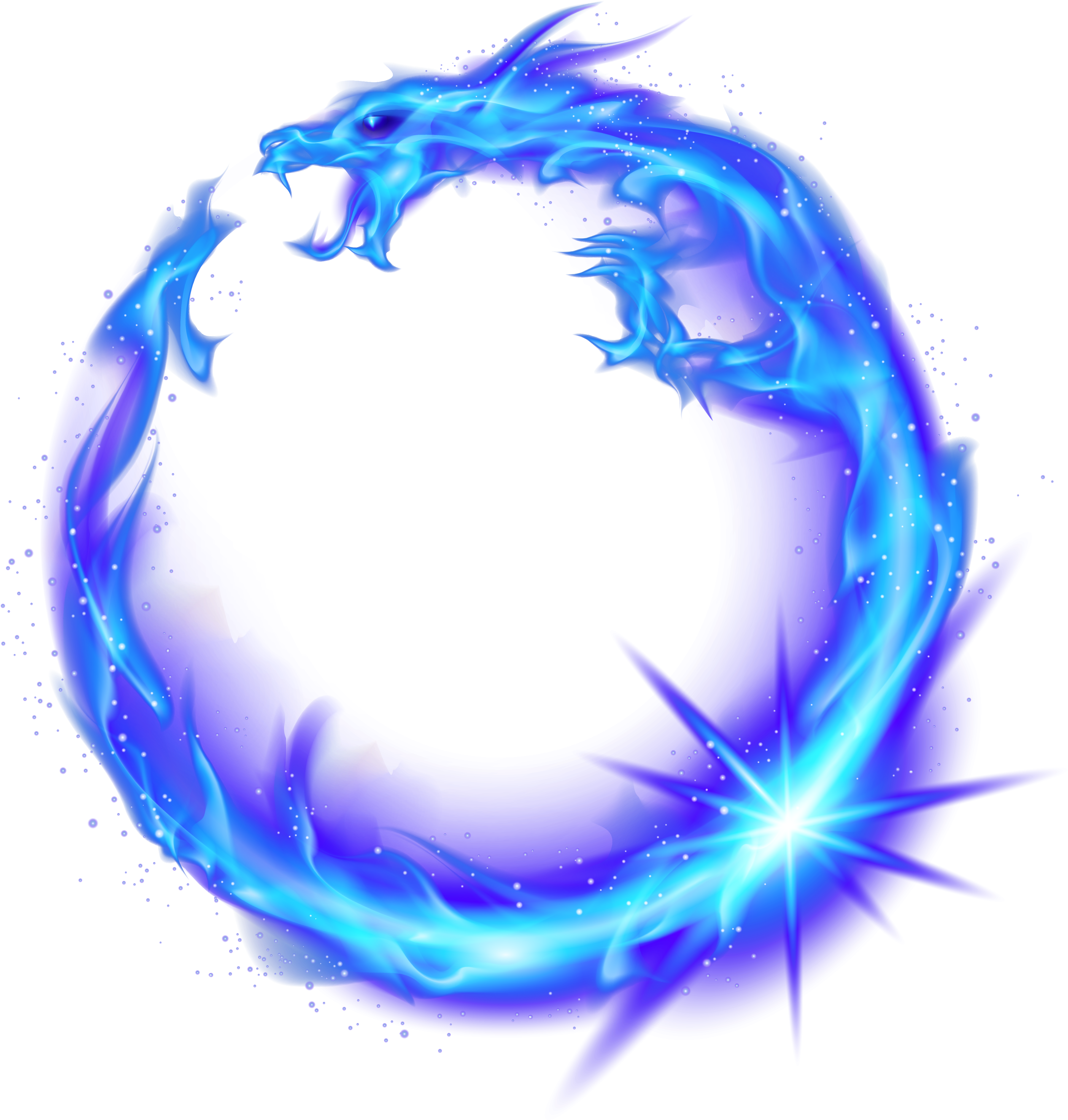 Dragon Circle Flame Fire Combustion Blue Royalty Free ...