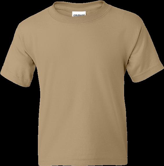 Dryblend 50/50 Youth T Shirt - Blank Light Brown Tshirt (600x600), Png Download