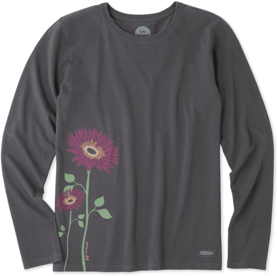 Women's Namaste Daisies Long Sleeve Crusher Tee - Long-sleeved T-shirt (570x570), Png Download