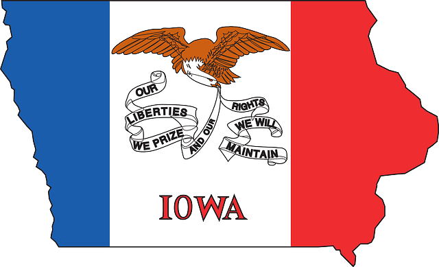 Flag, Outline, States, State, United, America, Iowa - Iowa State Flag (640x389), Png Download