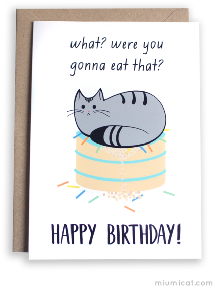 Birthday Wishes Cat Card 429x600 Png Download