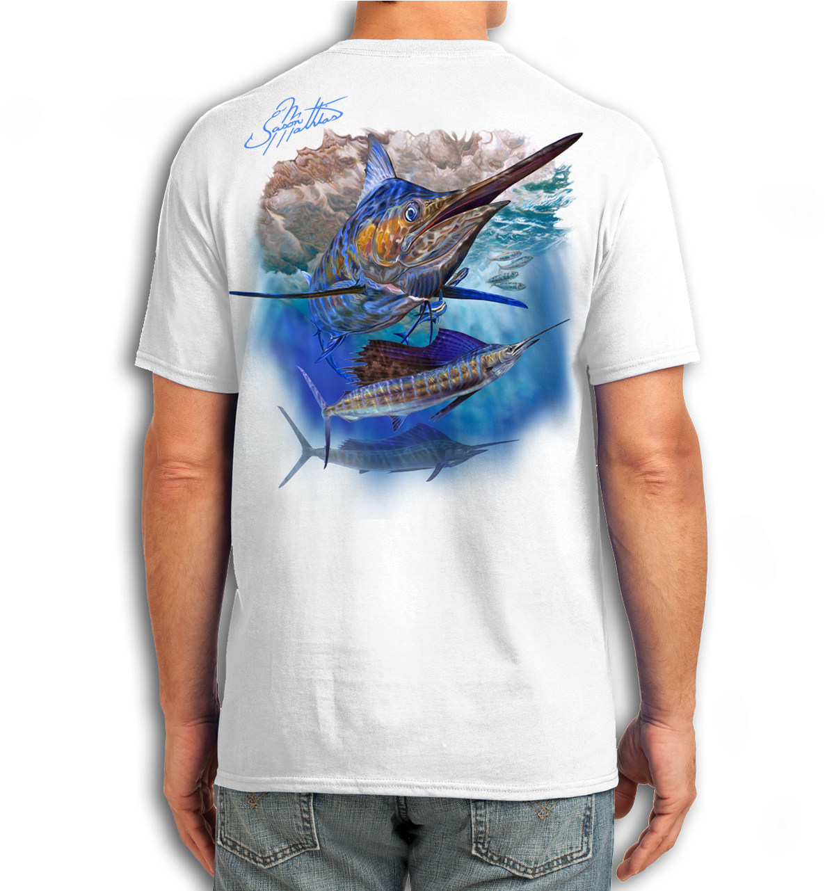 Download Blue Marlin Sailfish Cotton Feel Tech PNG Image with No