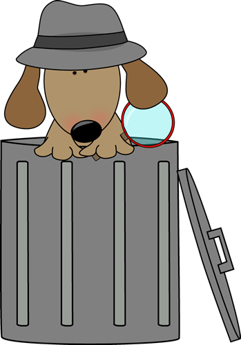 Clip Art Images Looking For Clues In - Dog In A Trash Can (349x500), Png Download