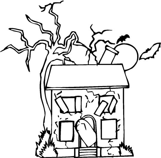 Download Abandoned Haunted House Halloween Coloring Page