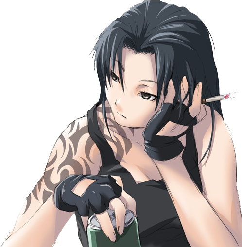 Anime-girl - Black Hair Anime Girl With Tattoo (550x508), Png Download