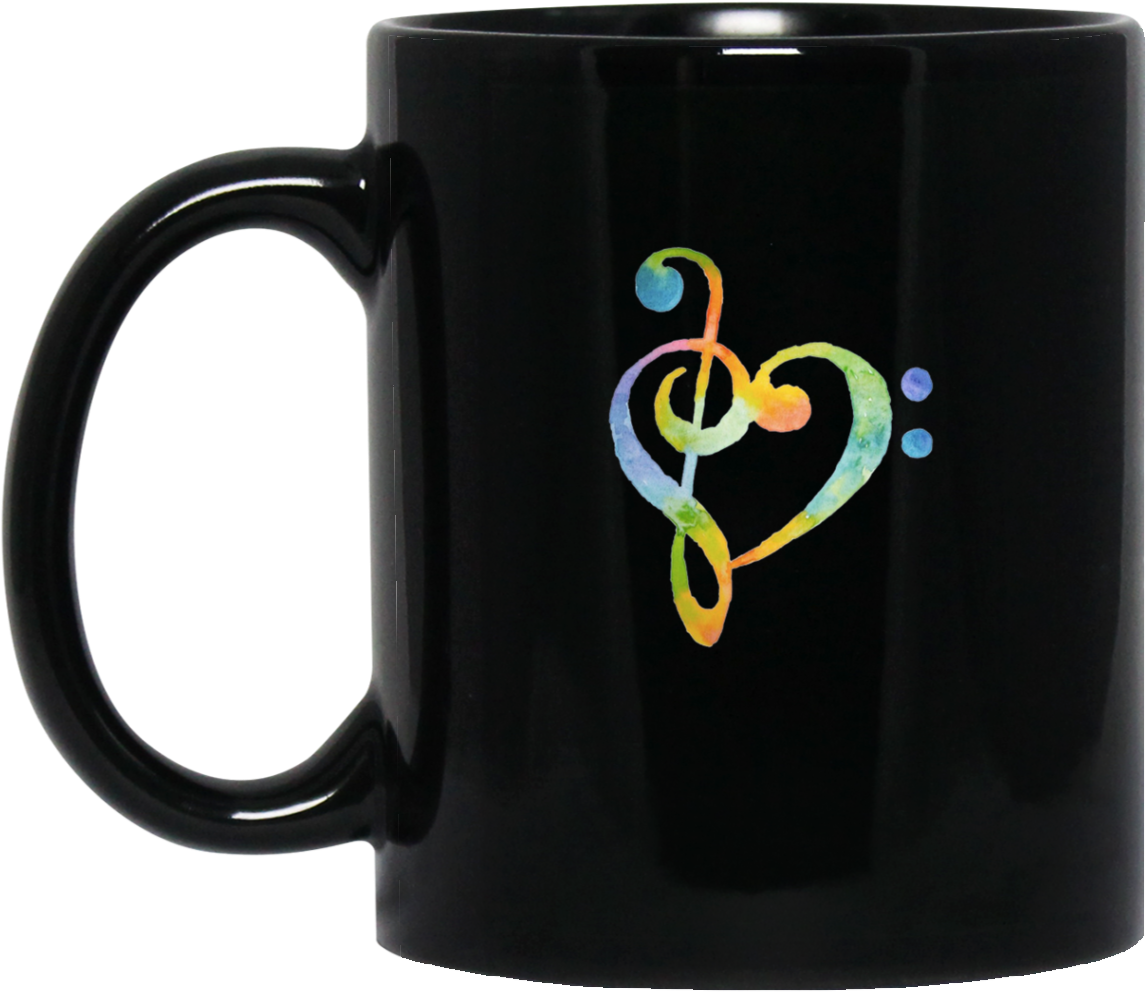 Watercolor Rainbow Heart Bass Clef Musical Note Tee - Music Heart (1155x1155), Png Download