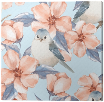 Spring Flowers And Birds - Watercolor Painting (400x400), Png Download