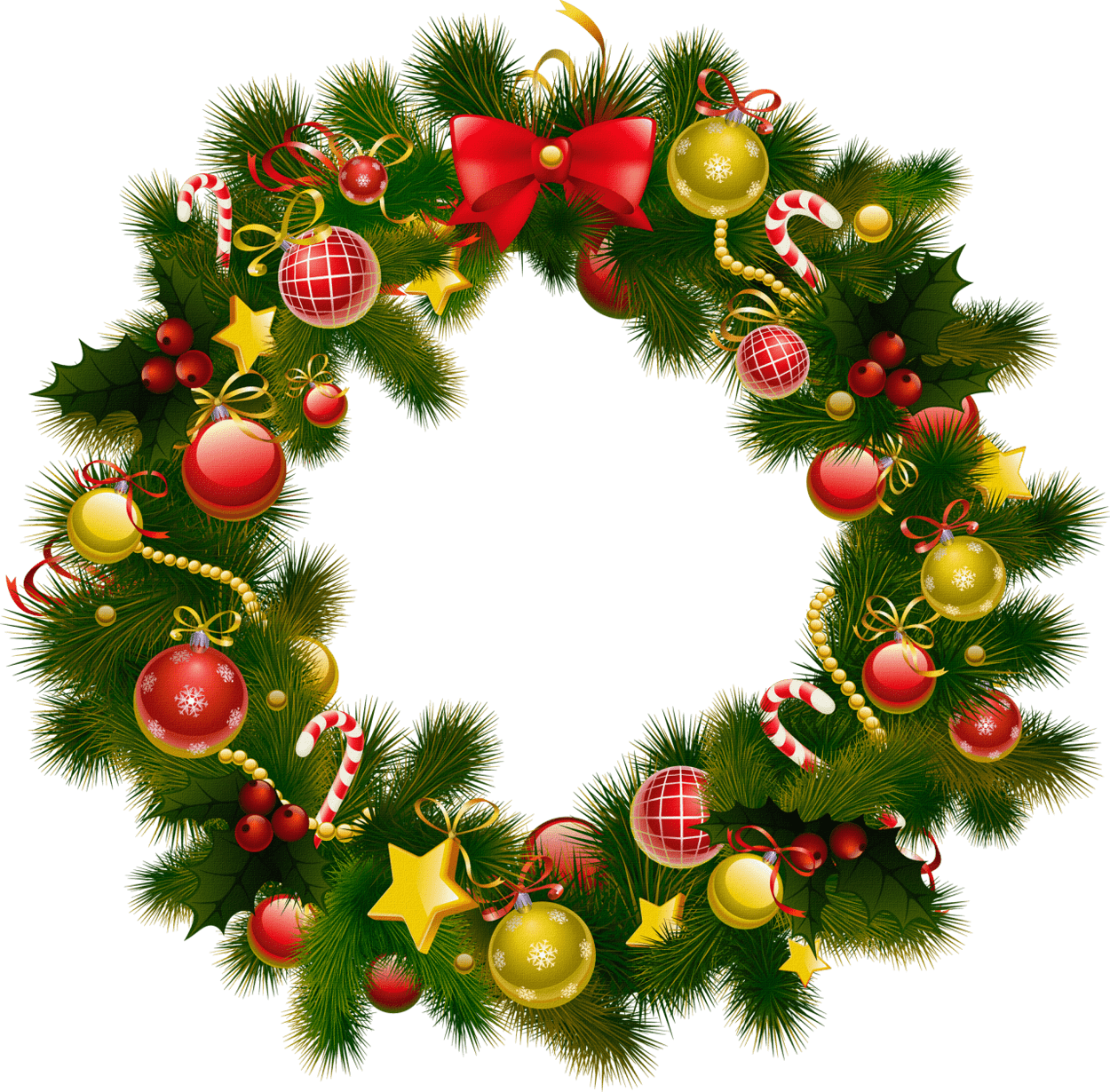 Simple Christmas Wreath - Christmas Wreath Frame Png (1250x1230), Png Download