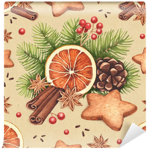Watercolor Christmas Pattern - Vintage Watercolor Paintings Christmas (400x400), Png Download
