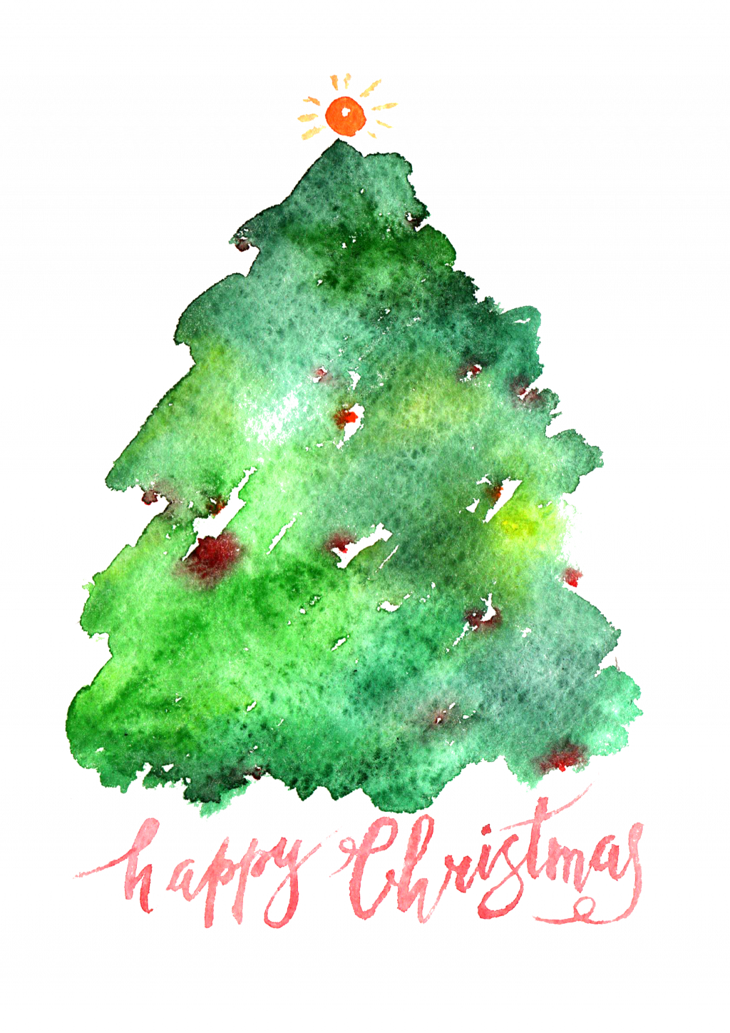 Santa Claus Christmas Tree Watercolor Painting Simple - Watercolor Evergreen Christmas Tree (1024x1448), Png Download