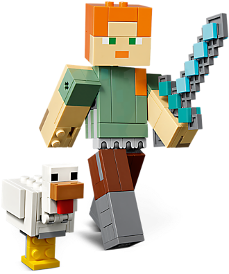 Download Minecraft Alex Bigfig With Chicken Lego Minecraft 21148 Kc Png Image With No Background Pngkey Com