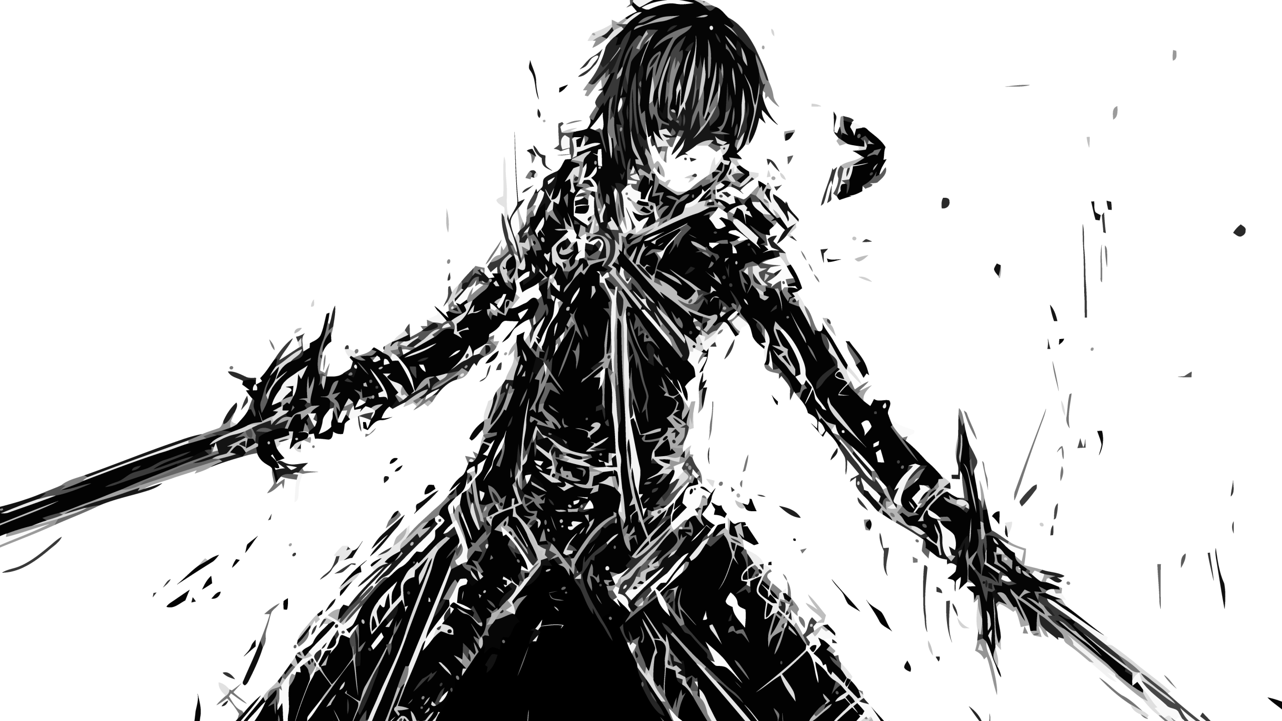 Anime / Sword Art Online - Anime Guy With Sword Drawing (2560x1440), Png Download