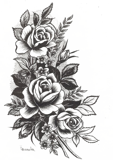 Rose Tattoo Png High-quality Image - Flowers Design Tattoo (478x675), Png Download