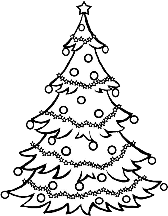 Pine Tree Clipart Black And White / Christmas Tree - Black And White Christmas Tree Drawing (601x727), Png Download
