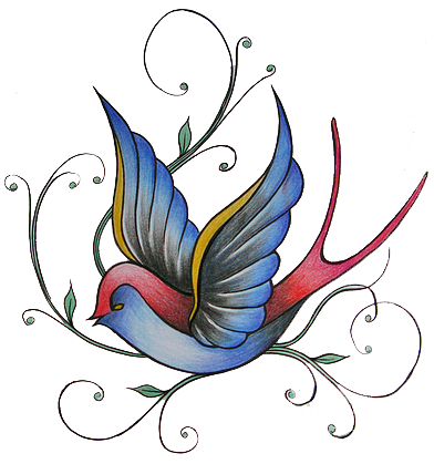 Colored Sparrow Tattoo Design - Colorful Sparrow Tattoo Designs (392x419), Png Download