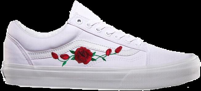 Customized Rose Embroidered Vans - Vans Old Skool Shoes (true White) Men  White e2c7c536b2