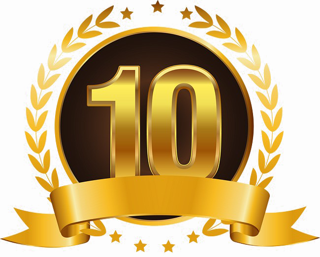 10 Number Png High Quality Image - 10th Anniversary Gold Theme (650x522), Png Download