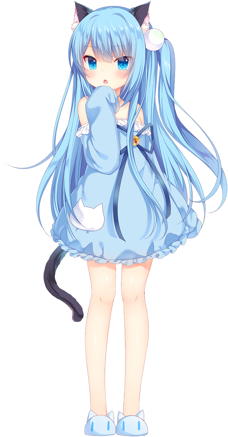 Anime Girl Neko, Neko Boy, Anime Child, Anime Girls, - Anime Neko Blue Hair Girl (922x1520), Png Download