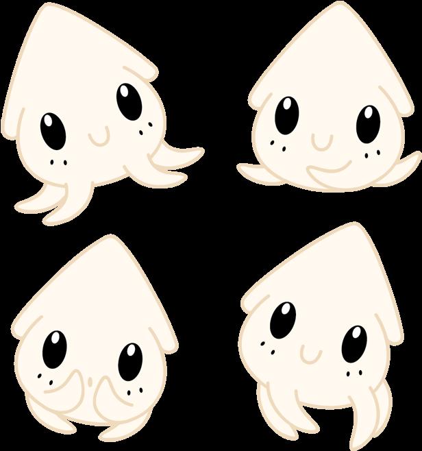 Chibi Squid By Daieny - Animales Kawaii Chibi Anime (660x690), Png Download