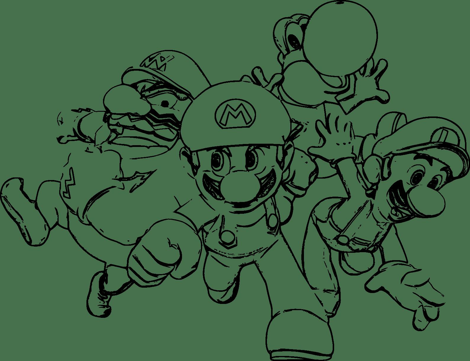 Download Coloriage Mario Luigi Yoshi Wario À Imprimer Et Colorier ...