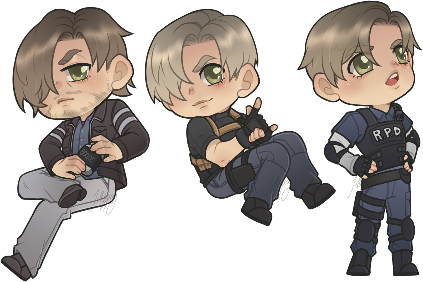Download Leon Chibis Resident Evil 2 Remake Fanart Png Image With No Background Pngkey Com