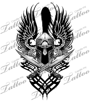 Download Tribal Spartan Helmet Tattoo Png Image With No Background Pngkey Com