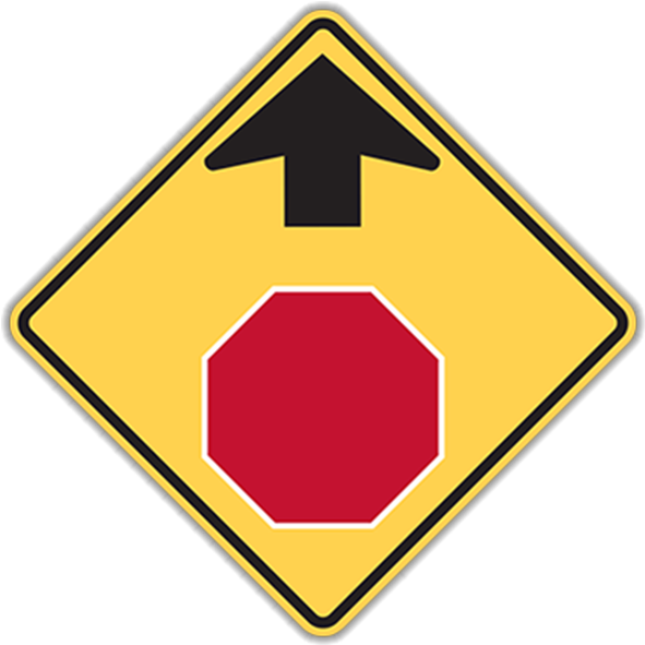 Larger Photo - Stop Sign Ahead Sign (800x800), Png Download