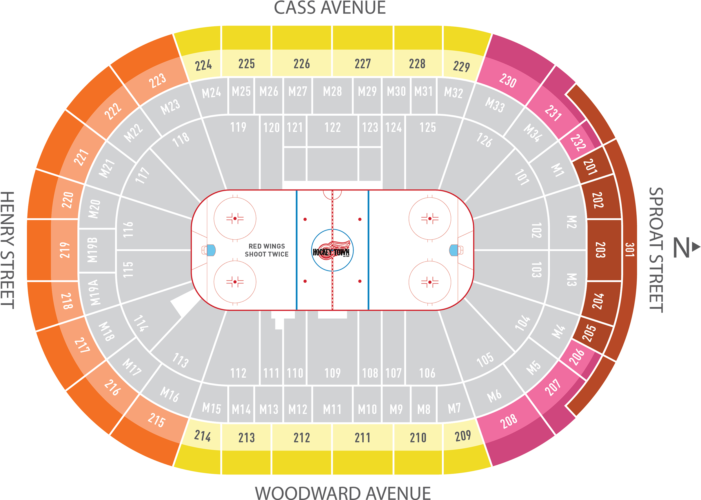 Season Ticket Plans Little Caesars Arena Detroit Red - Seating Chart Little Caesars Arena (2568x2008), Png Download