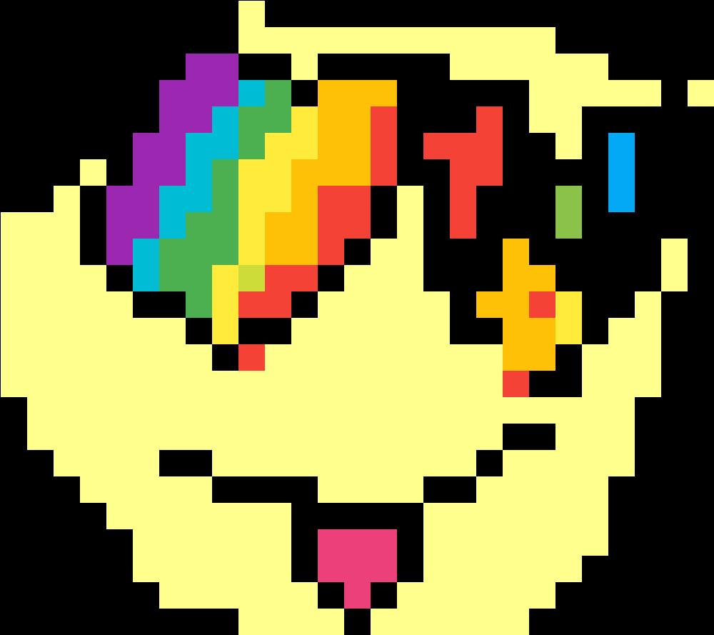 Emoji Rainbow Loving Face - Pixel Art Rainbow Heart (1184x1184), Png Download
